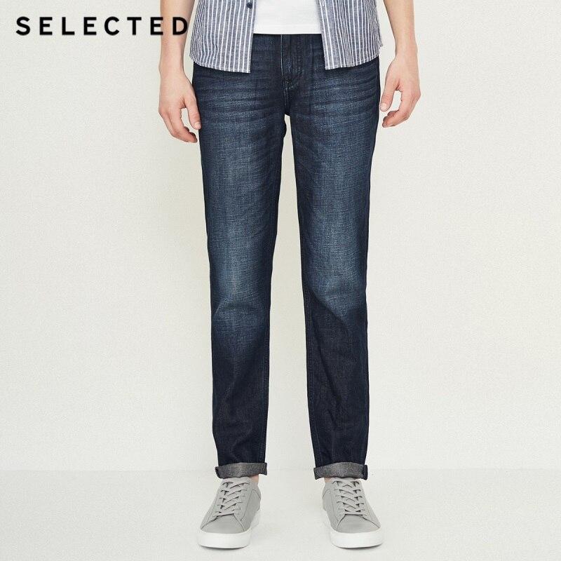 Отборные мужские новые хлопковые и льняные повседневные потертые джинсы C | 418332513 - Цвет: DARK BLUE DENIM