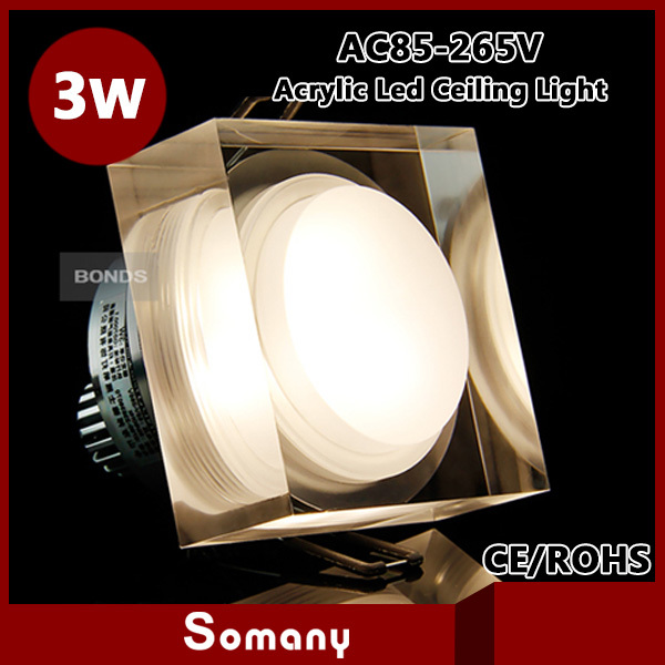 Somany Discount 3pcs/lot Ceiling Recessed Ceiling Light Fixture High Power  Lustre Acrylic Crystal 3W Square Ceiling Down Lamp
