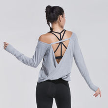 Women Yoga Shirt Sports Running Sportswear Training Backless Fitness Exercise Clothes Long Sleeve