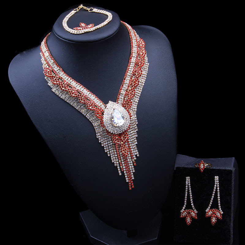 Red And White Rhinestone Inlaid Necklace + Earrings + Ring + Bracelet Jewelry Set Wedding Party Clothing Decorative Jewelry Set