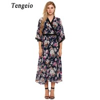 Tengeio Bohemian Summer Sundresses Womens Loose Long Dress V Neck 3 4 Sleeve Boho Style Floral