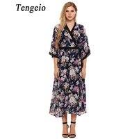 Tengeio Bohemian Summer Sundresses Womens Loose Long Dress V Neck 3 4 Sleeve Boho Style Floral