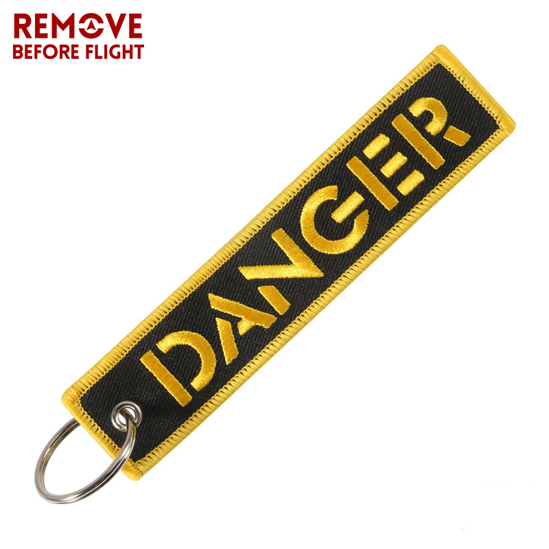 Danger Keychain For Cars Key Chain For Motorcycles Key Tag Cool Embroidery Key Fobs Customized Fashion New Keychains