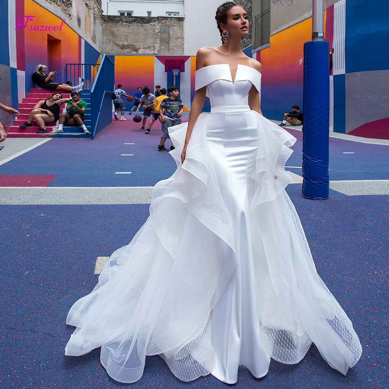 Fsuzwel Sexy Boat Neck Off The Shoulder Satin Mermaid Wedding Dress 2019 Graceful Detachable Train Princess Bride Gown Plus Size