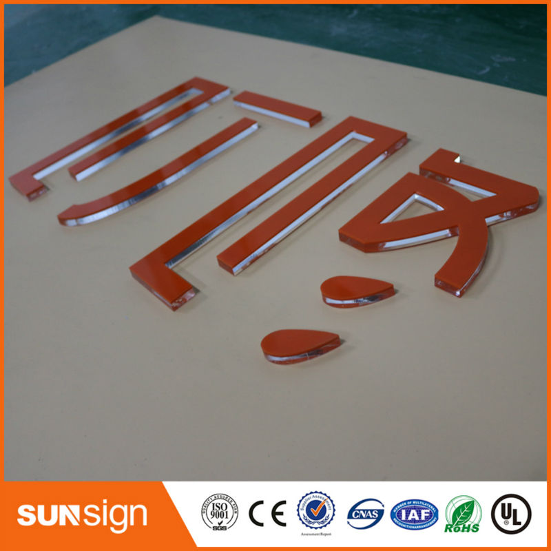 Sunsign Custom Company Decoration Clear Acrylic Letter Sign With Vinyl