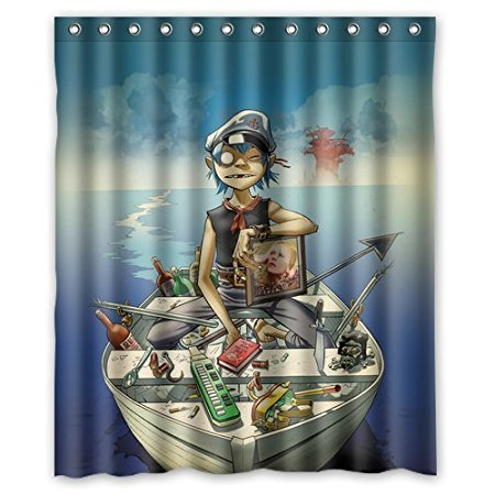 Bathroom Shower Curtains Gorillaz Boat Illust Music 180x180cm Eco Friendly Waterproof Fabric Curtain