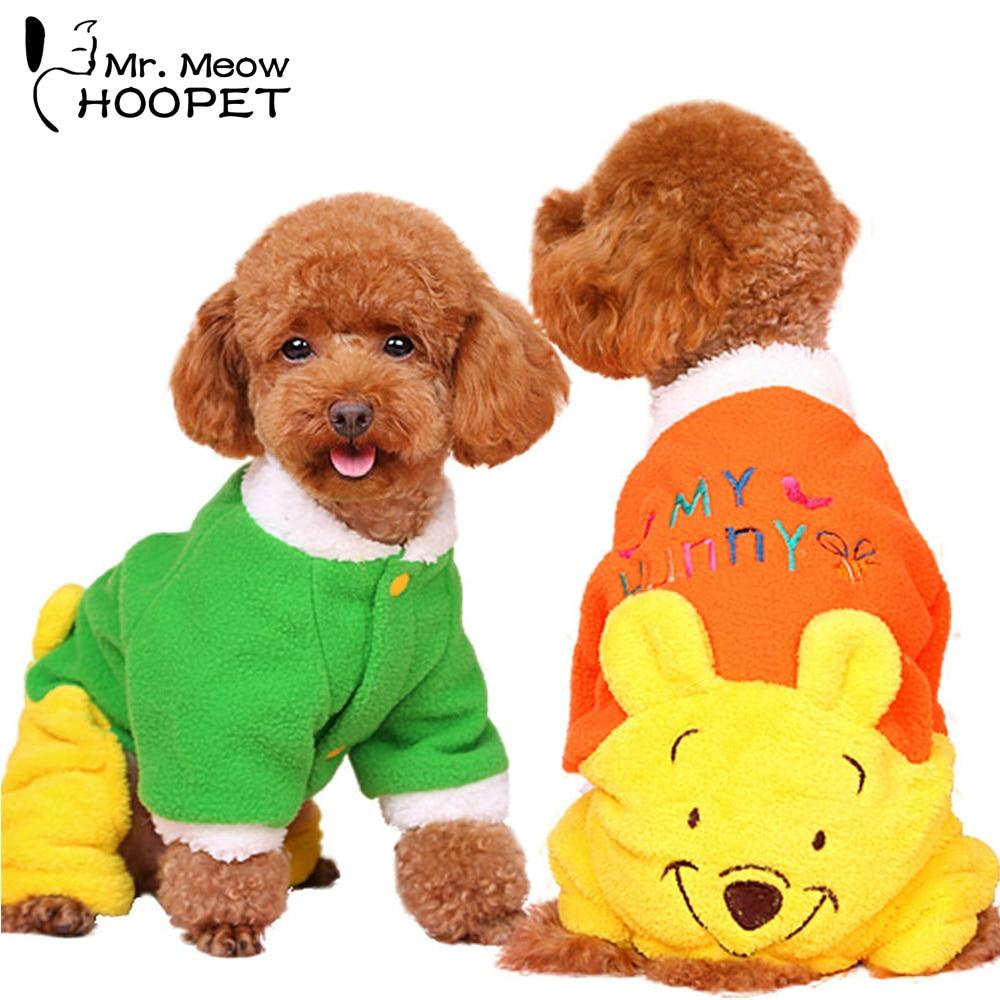 Cartoon Pet Clothes Fleece Colorful Cute Dog Cat Jumsuit four feet suit Small dog Puppy Teddy Coat
