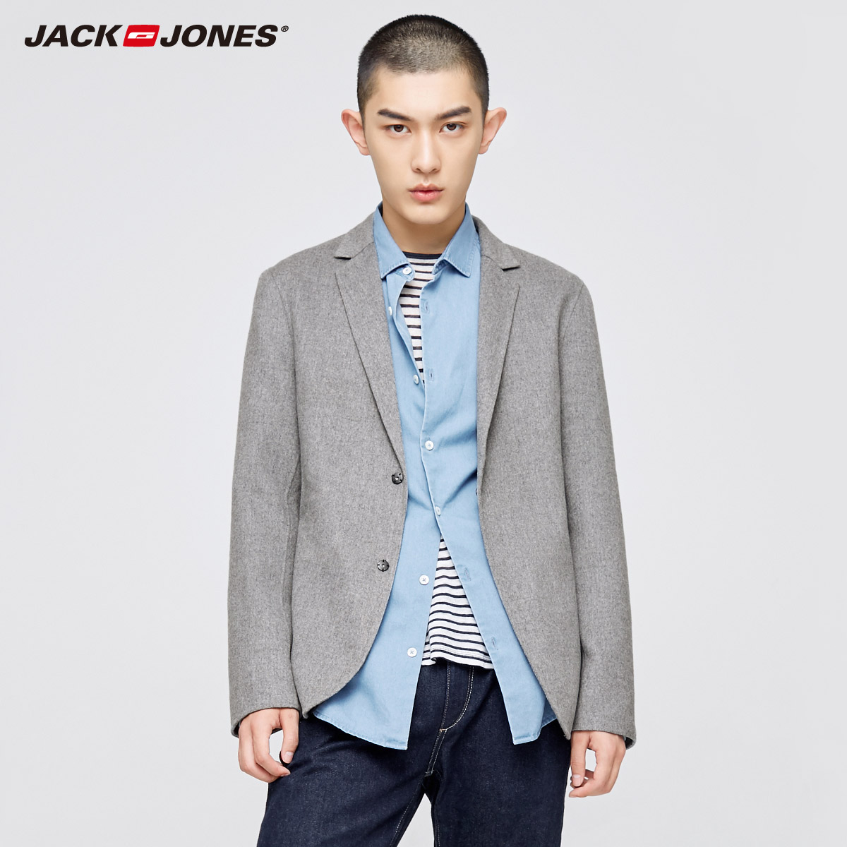 JackJones Wool-blend slim fit business leisure suit jacket casual suit jacket male Blazers men coat Terno Masculino 217408502