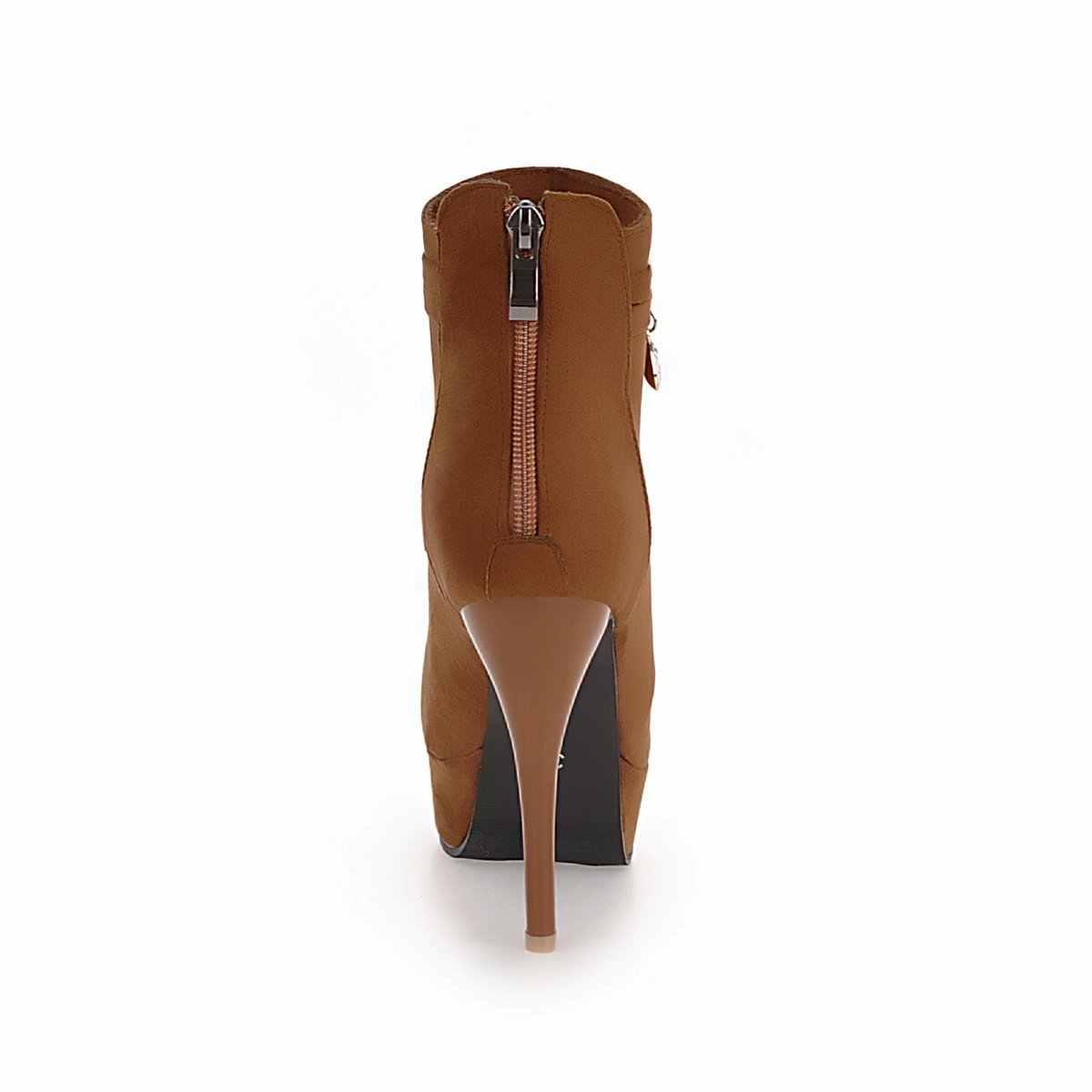 Kadın Platformu Çizmeler Akın Seksi Ince Yüksek Topuk yarım çizmeler Fermuar Kış Moda Kadın Ayakkabı Artı Boyutu 2018 Yeni