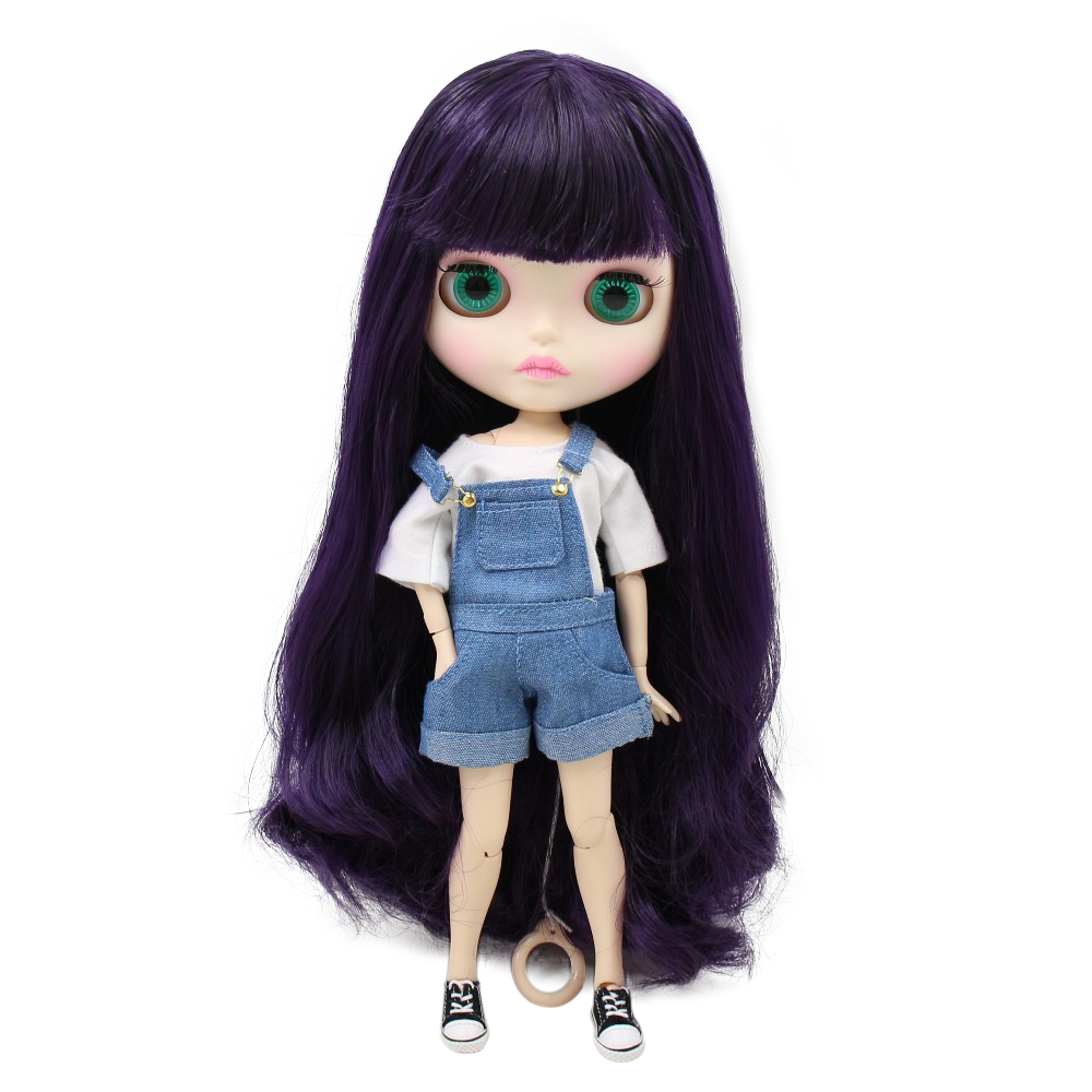 Factory blyth doll bjd joint body white skin new faceplate matte face BL169 purple hair 30cm
