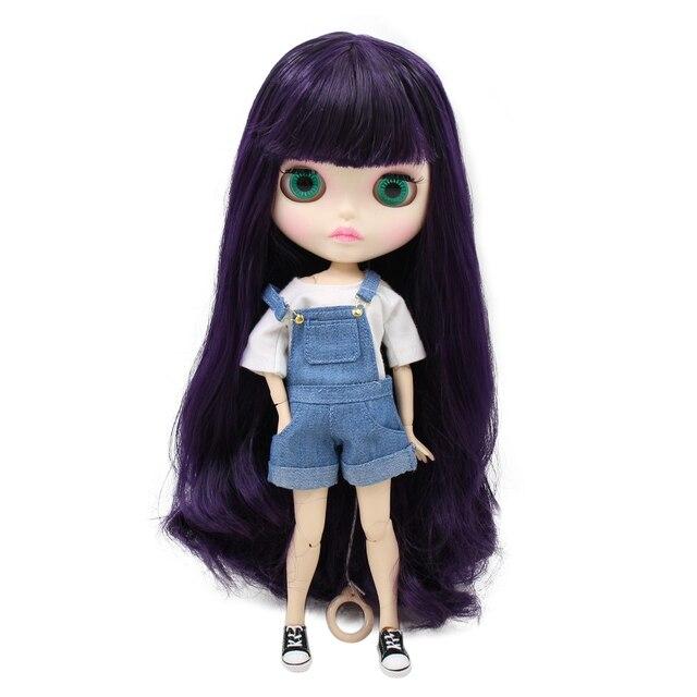 Factory blyth doll bjd joint body white skin new faceplate matte face BL169 purple hair 30cm