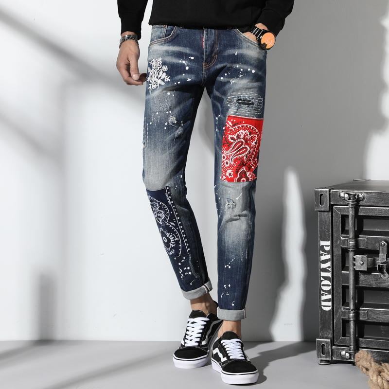 Men Jeans Slim Fit Fashion Patchwork Denim Ripped Zipper Biker Skinny Hole Embroidery Patch Stylish