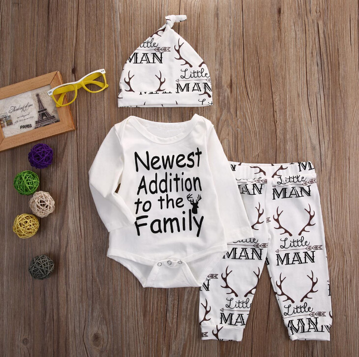 Newborn Baby boy clothes Newest Addition To The Family letter printed Rompers Pants Hat Outfit Clothes 3pcs Baby Clothing Set 2pcs set baby clothes set boy