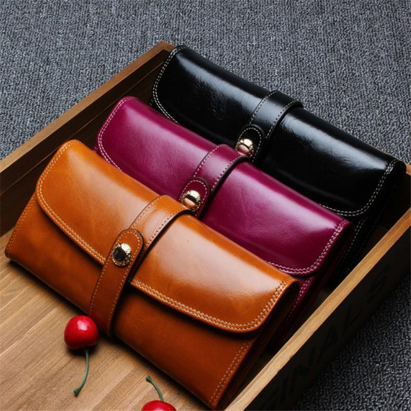 Women New Fashion Hasp Wallet Genuine Cowhide Leather Long Wallet Oil Wax Leather Ladies Wallets with Many Cards Slots Purse