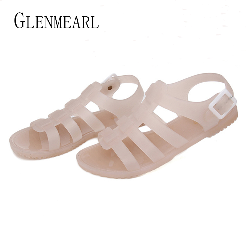 2018 Summer Large Size Flat Heel Women Sandals Shoes Roman Jelly Plastic Flats Student Casual Single Shoes Rain Sandals Big ZK41 slhjc 2017 summer flats cool sandals flat heel pointed toe cutout jelly shoes durable wear sandals beach travel shopping shoes
