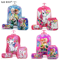 3D Stereo Trolley suitcase set Cute Anime Kids Girl Cartoon travel rolling Luggage Children School bag with wheels