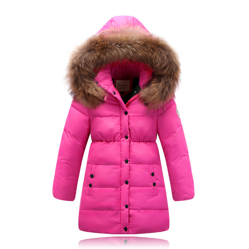 5104b43d6941 2015 New Girls Winter Coat With Big Fur Collar Children s Thick Long Warm  Down Coat And Parka-in Down   Parkas from Mother   Kids on Aliexpress.com  ...