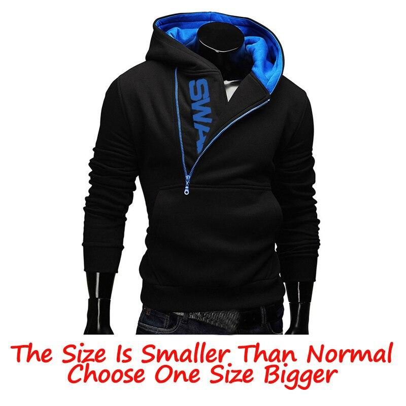 Hoodies Laamei Men Fashion Oblique Zipper Patchwork Tracksuit Sweatshirt Men's Collar Cap Long Sleeves Pullover Plus Size M-3XL