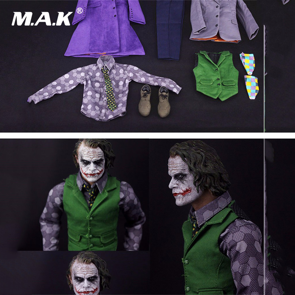 1/6 Joker The Dark Knig Batman Villain Purple Clothes Sets Models For 12 Inches Action Figure Toys Without head & body 1 6 figure doll head shape for 12 action figure doll accessories batman joker red hair head carved not include body clothes