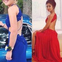 Halter Abendkleid Spitze Perlen Top Chiffon-Eine Linie Kleid Königlichen blau Partei-festzug-kleid 2016 Neue Art-nach Maß Roten Abendkleid kleid