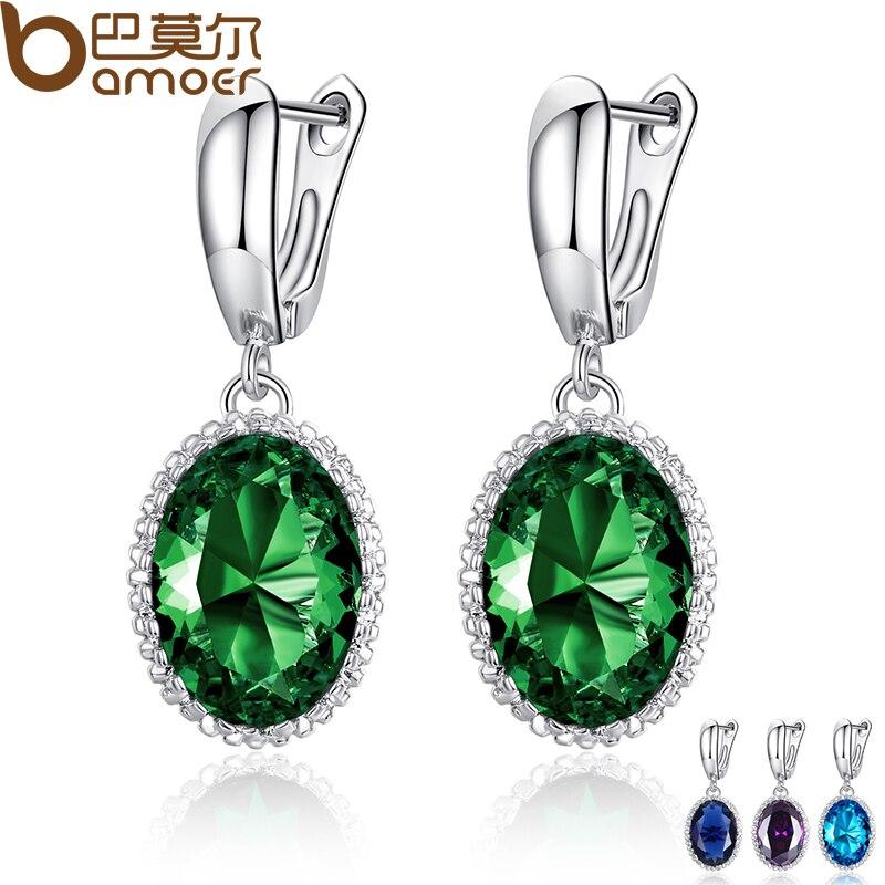 BAMOER Luxury Big Green Stone Drop Earrings for Women Earrings Jewelry Engagement Accessories Gift YIE105 GN