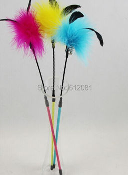 Free shipping  feathers cat Teaser Toy Rod cat bell toys scratching toys fishing pole with bell 50pcs/lot