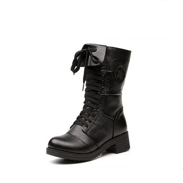 2017 New Martin Boots Tide Restoring Ancient Ways Full Grain Leather Boots Black Plus Size