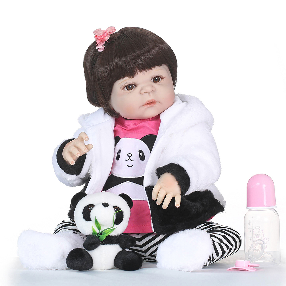Soft Full Silicone Vinyl Body Lifelike Toddler Doll Play House Bath Toy Gift With Panda Cloths Toy 22 inch Reborn Baby Girl Doll