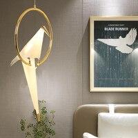 Modern minimalist bird design electroplating golden lamp holder chandelier creative white PP restaurant decoration LED lighting
