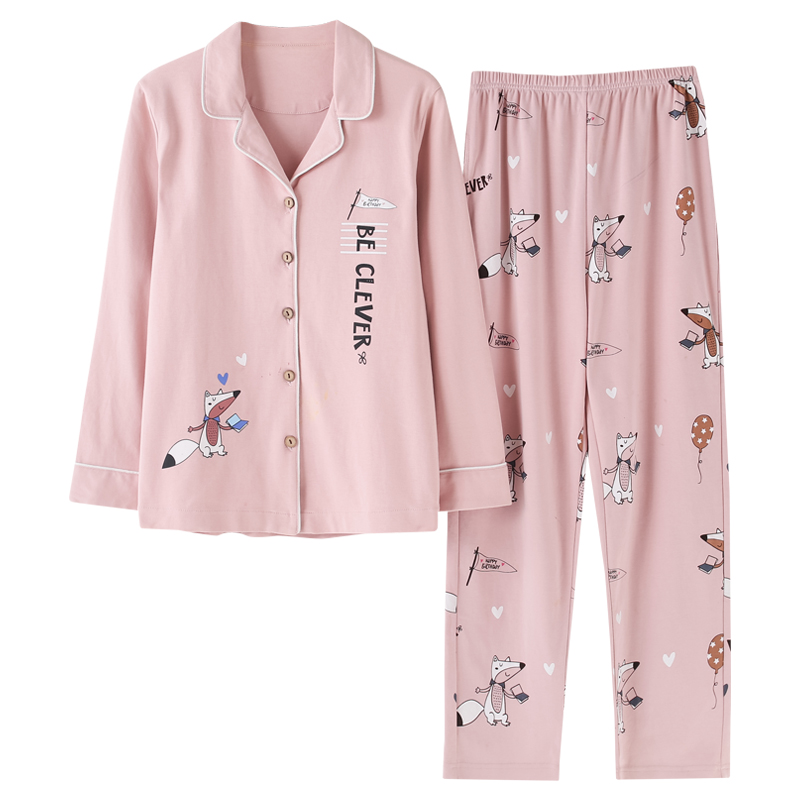 Pajamas     Sets   Spring Autumn Pink Cartoon Fox Women Long Sleeve Sleepwear Suit Home Women Gift Female Sleepwear Pijama Mujer Femme