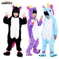 Boys Girls Children S Pajamas Hooded Autumn Winter Children Flannel Animal Unicron Pegasus Cartoon Pajamas For