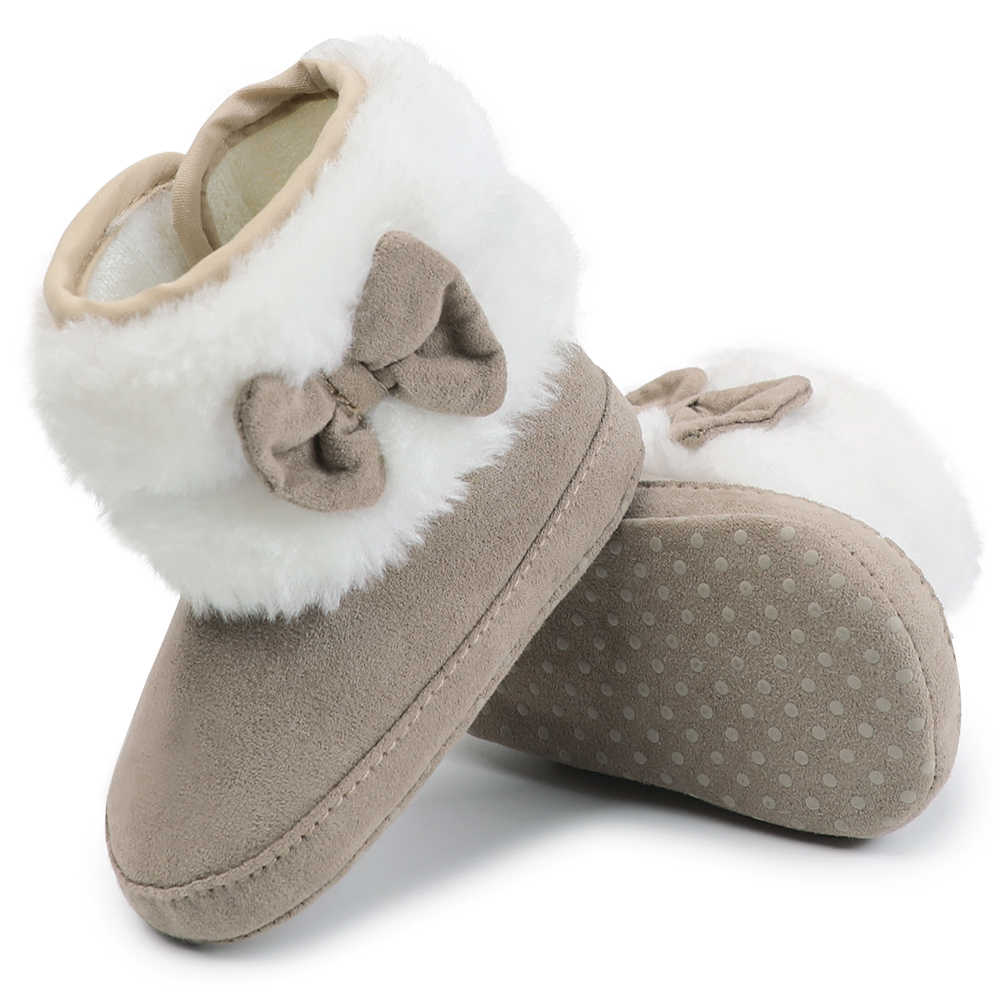Baby Toddler Shoes Babies Winter Warm Booties Faux Fleece Anti-Slip Toddler Newborn Baby Shoes Bow Crib Shoes Snow Boots