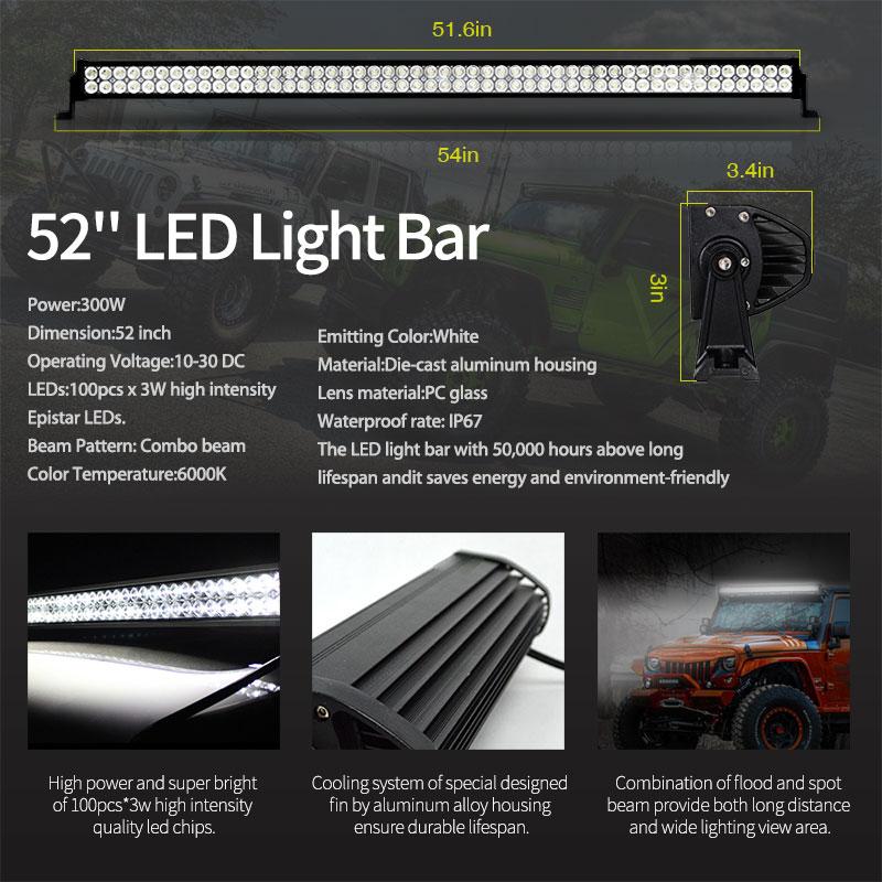 52 Inch 300W LED Light Bar Kit 4 LED Work Light Windshield Mount Bracket with Wireless Control For JEEP Wrangler JK 07 15 - 5