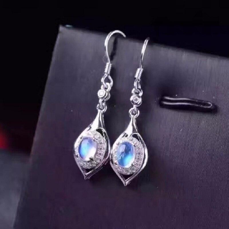 Uloveido Oval Moonstone Drop Earrings for Women 925 Sterling Silver Wedding Jewelry 4 6mm with Velvet