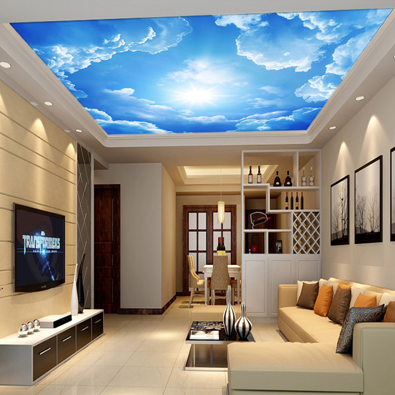 Modern Interior Decoration Living Rooms Ceiling Designs: Modern 3D Photo Wallpaper Blue Sky And White Clouds Wall
