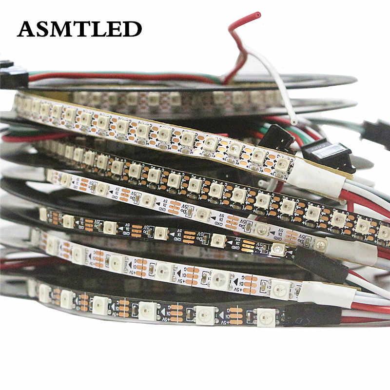 5 V WS2812B programowalny inteligentna lampa LED 3535/5050 SMD RGB wąska szerokość taśmy pikseli światła nie wodoodporny 60/144 pikseli/diody led/m