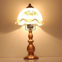 British Retro Desk Lamp Flower Glass Shade Living Room Study Reading Table Lamp Bedside Lighting