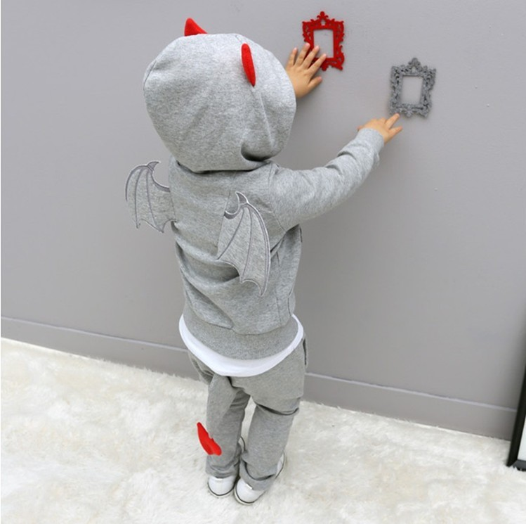 Children Spring Autumn clothes Devil wings sports suits boys solid cotton clothing sets long sleeves pullover hooded wear (5)