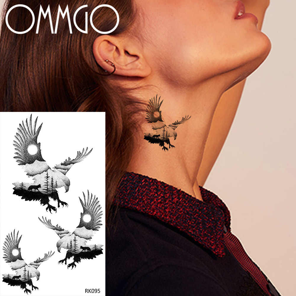 OMMGO Forest Soar Eagle Temporary Tattoos For Women Men Neck Ankle Tatoos Paper Waterproof Black Fake Wrist Bird Tattoo Stickers