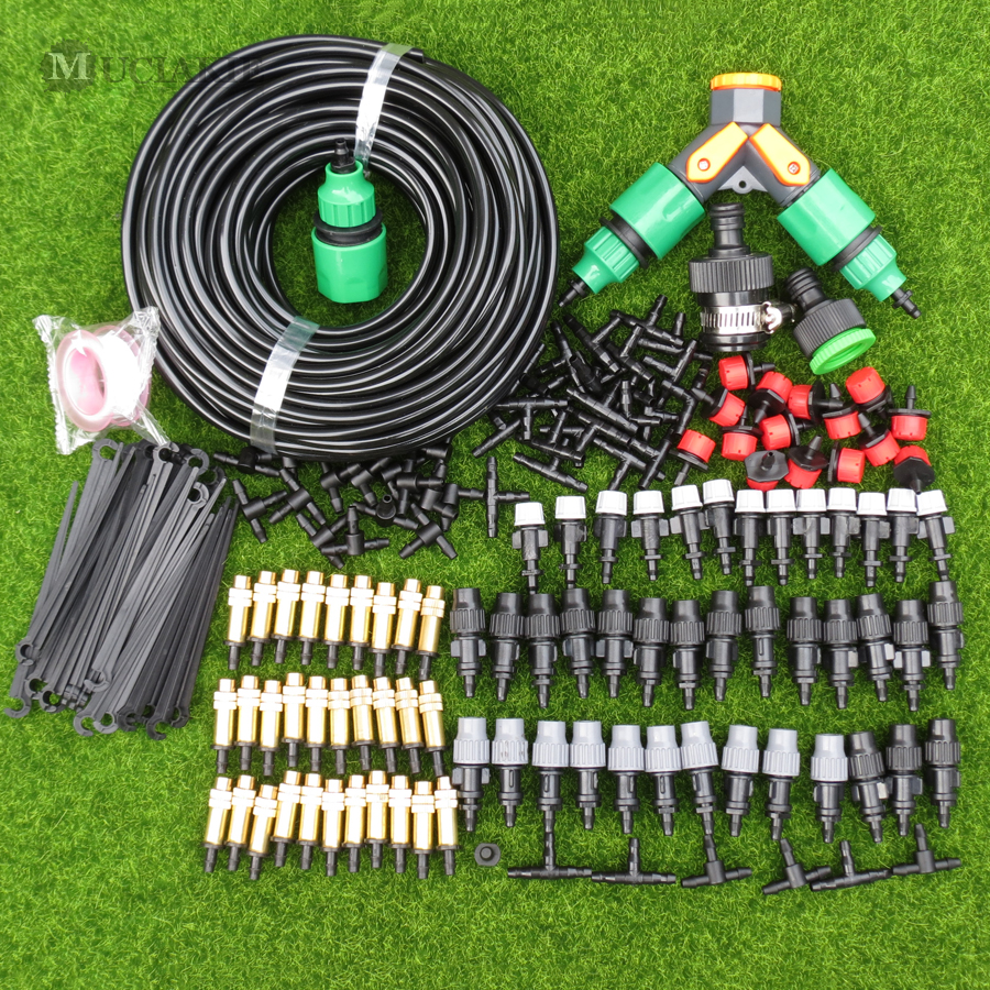 MUCIAKIE 30M 25M 20 15 10M Garden Misting Sprinkler Irrigation System Watering Kits With Adjustable Mist Spray Dripper Connector
