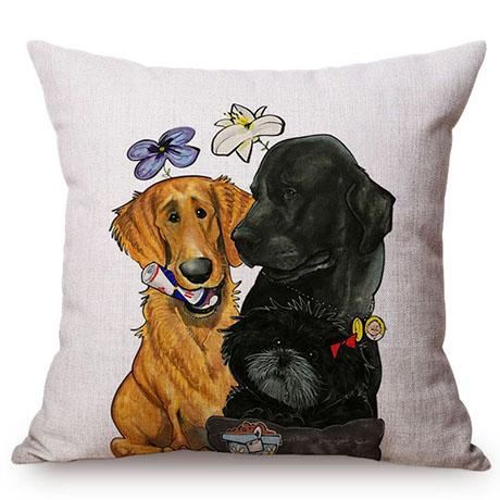 Pet Dog Animals Funny Style Cushion Cover Dachshund Schnauzer Dog Children Like Cotton Linen Sofa Decorative Throw Pillow Case M110-10