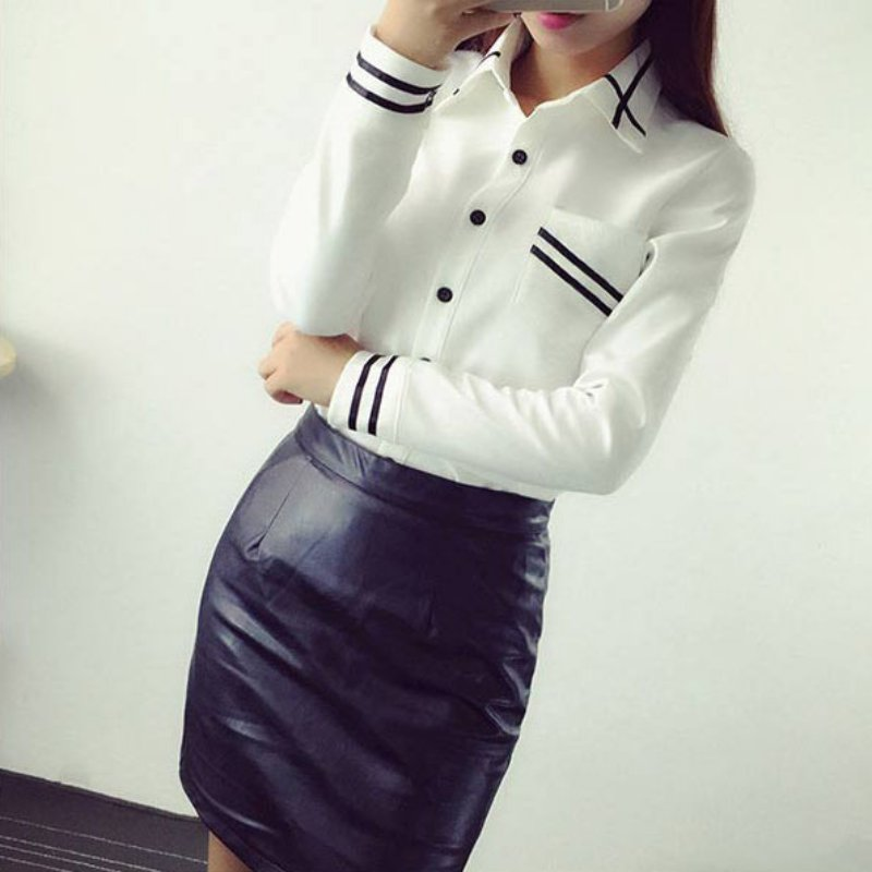 New Office Button Elegant Chiffon Women's Blouse Striped Long Sleeve - Women's Clothing - Photo 4