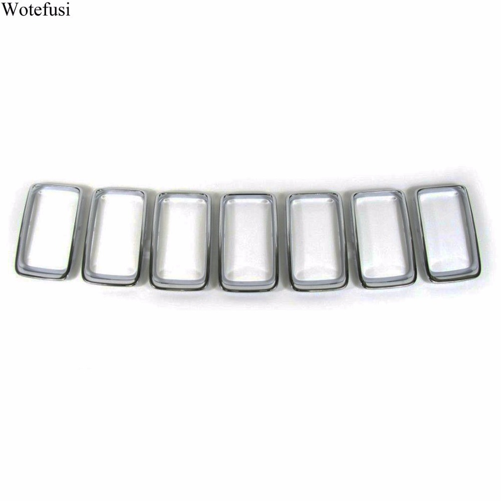 Wotefusi Chrome Front Grille Vent Trim Ring Cover For Jeep Grand Cherokee 2014 2015 2016  [QPA315] abs chrome front grille around trim for ford s max smax 2007 2010 2011 2012