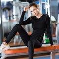 Amarelo para o natal 2016 das mulheres de alta elástica roupas de compressão calças justas de fitness training gym sports correndo yoga camisa de manga longa