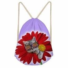 Noisydesigns Big rose have little cute cat  Drawstring Bag Couple Lover Shoe Backpack Pocket String Storage Rucksack