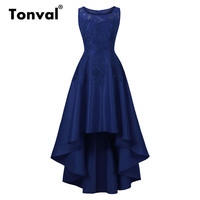 Tonval Vintage Chic High Low Hem Maxi Dress Lace Elegant Evening Party Formal Dress Women Navy Blue Long Dresses