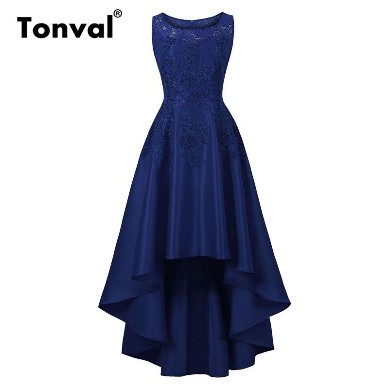 Tonval Vintage Chic haut bas ourlet Maxi robe dentelle élégante soirée robe formelle femmes bleu marine robes longues