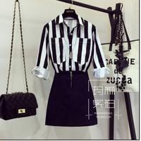European Style New Early Autumn 2017 Female Long Sleeve Strip Shirt Blouse Black Denim Skirts Suit