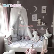 Kids Play House Tents Bed Curtain Baby Shower DIY Happy Birthday Party Decor Bed Valance Mosquito Net Children Room Decorations(China)