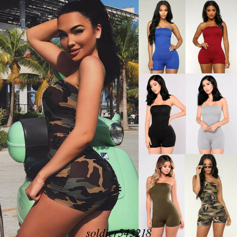 Women Sport Playsuit Ladies Sexy Off Shoulder Playsuit Skinny Jumpsuit Pure Color Summer Beach Dress UK Size 6 - 14 6 Colors